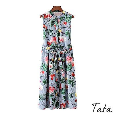 單排釦印花條紋背心洋裝(配腰帶)TATA