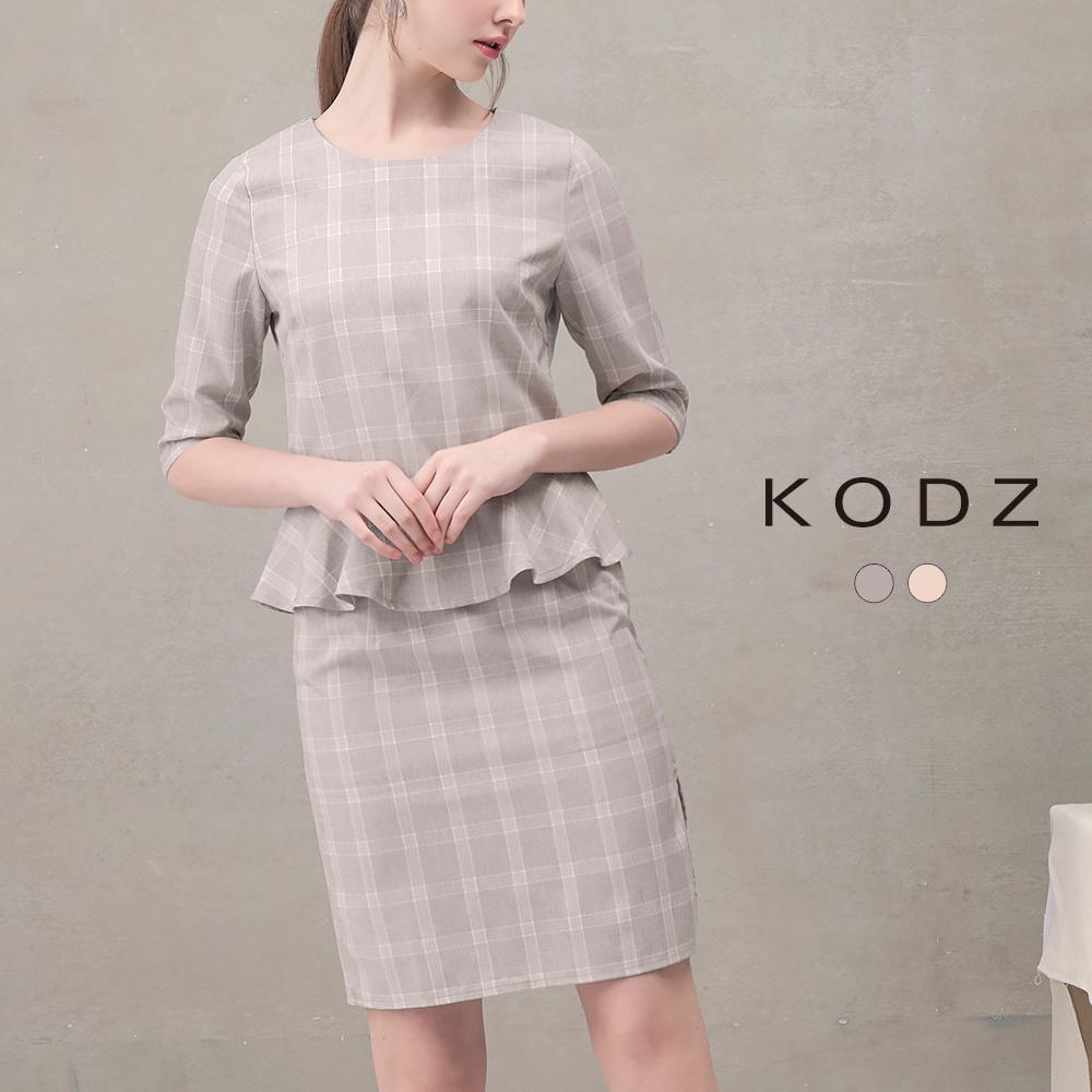 東京著衣-KODZ 菲菲聯名都會格紋設計套裝-XS.S.M.L(共二色)