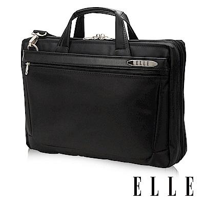 ELLE HOMME 紳士皮革公事包13吋筆電置物層 側背手提兩用設計-黑小