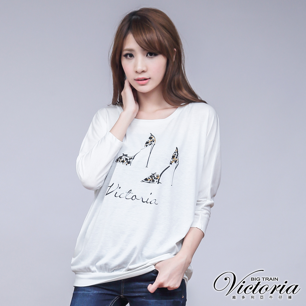Victoria 女款高跟鞋縫珠印花長袖T-女-象牙白