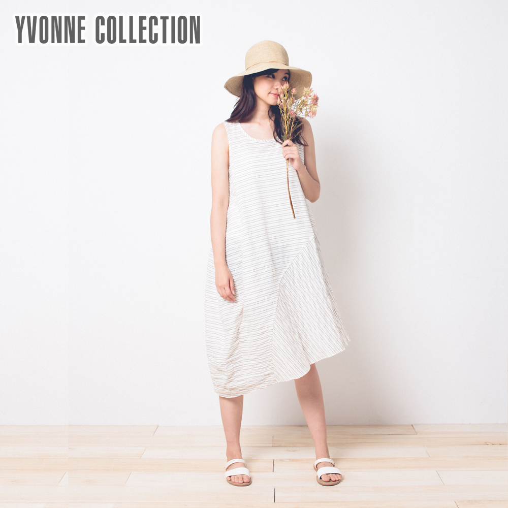 YVONNE不對襯下擺條紋拼接無袖洋裝