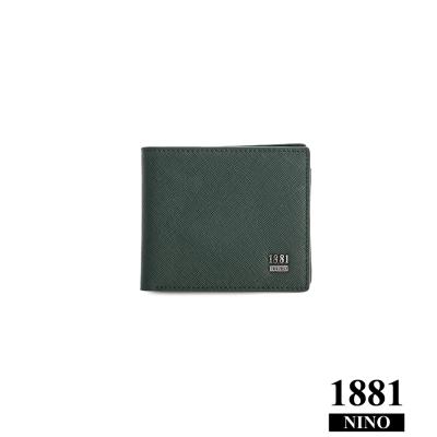 NINO1881- 男人系列紳士短夾 - 綠 (十字紋)