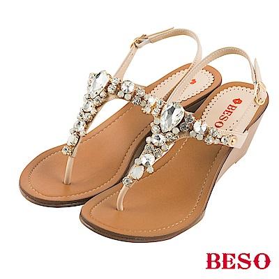 BESO 璀璨奢華 閃耀立體水鑽寶石T帶楔型涼鞋~米