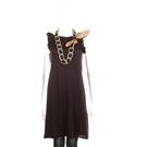 BRUNO MANETTI 深紫色無袖荷葉邊洋裝(不含項鍊)