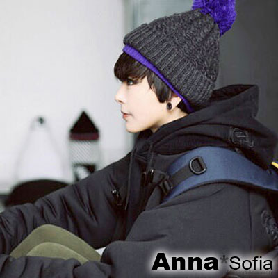 AnnaSofia-雙層色厚織-球球毛線帽-深灰系