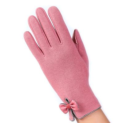 幸福揚邑 防風加絨觸控騎車開車保暖棉手套-時尚蝴蝶-粉色