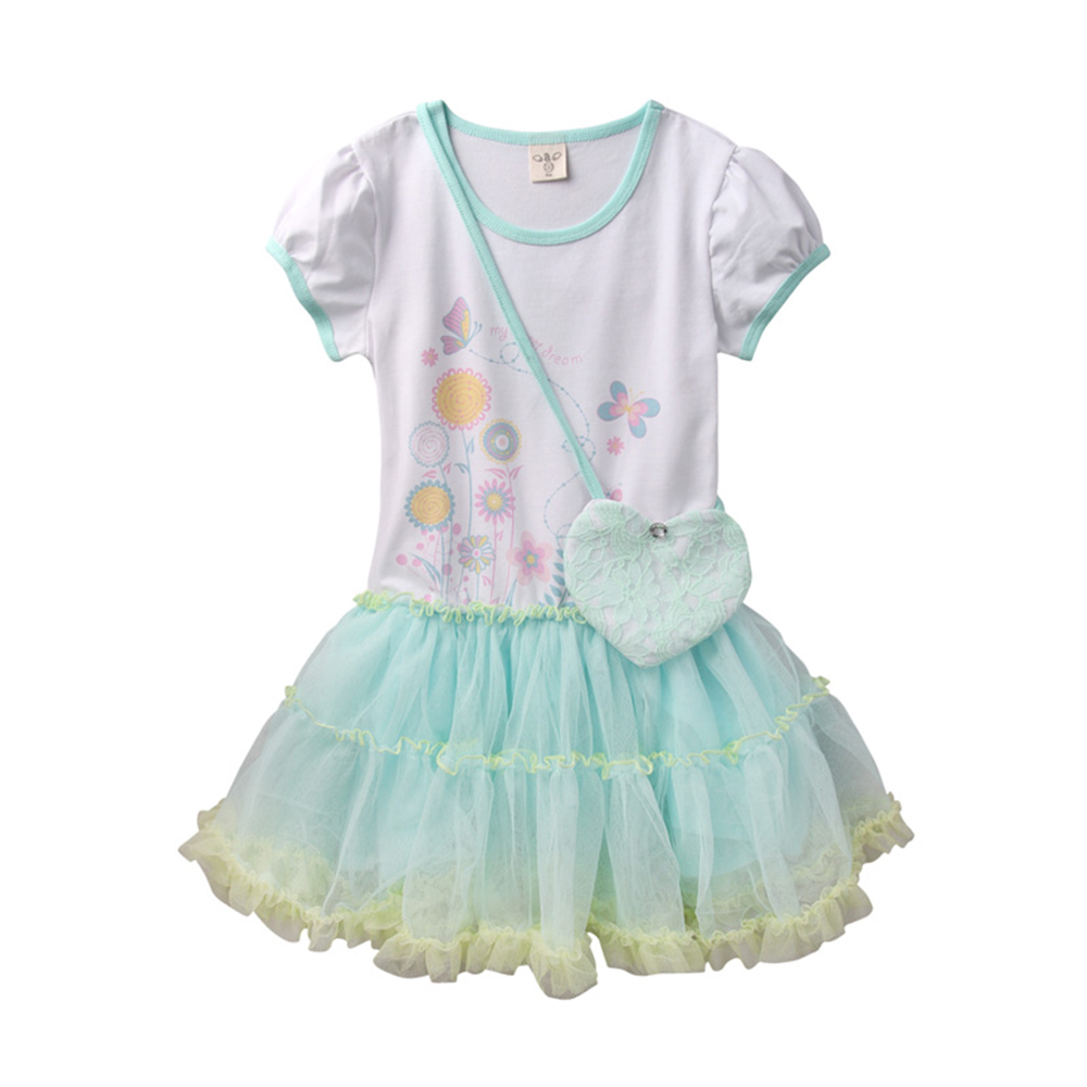 baby童衣 女童洋裝 夏日花園風蕾絲紗裙附小斜背包 52220