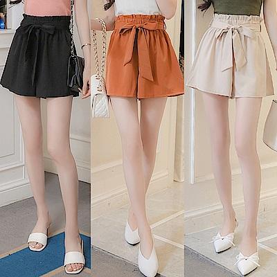 La Belleza素面滑布腰綁帶鬆緊腰彈性褲裙