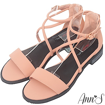 Ann'S夏遊格拉斯哥-霧面交叉顯瘦繞踝平底涼鞋-粉