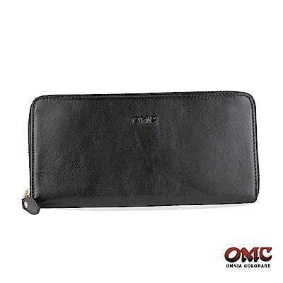 OMC 原皮系列-植鞣牛皮單拉鏈12卡透明窗雙隔層零錢長夾-黑色