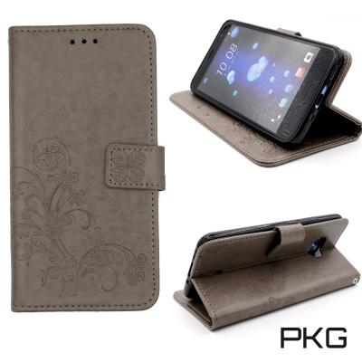 PKG HTC U11 側翻式皮套-精選皮套系列-幸運草棕灰