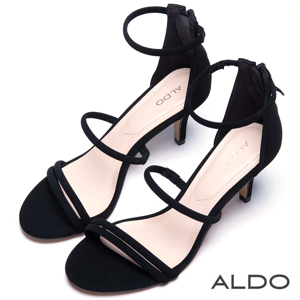 ALDO 原色窄版繫帶後拉鍊式繫踝涼鞋~尊爵黑色