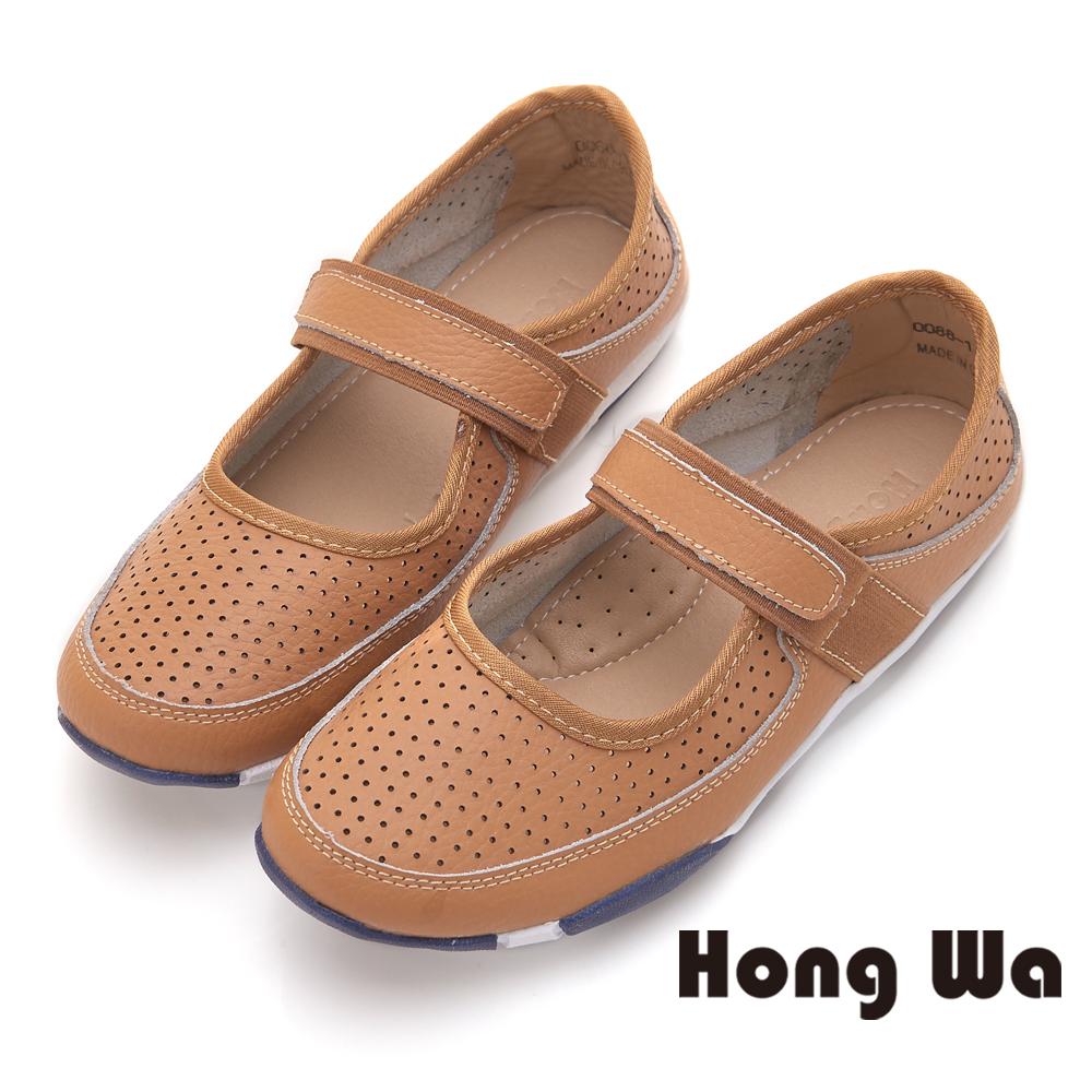 Hong Wa 韓風魔鬼貼舒適牛皮休閒鞋 - 棕
