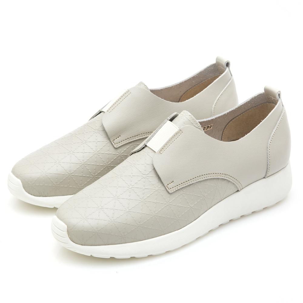 G.Ms. MIT系列-幾何方格壓紋牛皮休閒鞋-淺灰