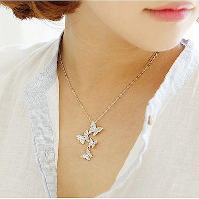梨花HaNA 韓國925銀微鑲蝴蝶漫舞層次鎖骨鍊精裝版