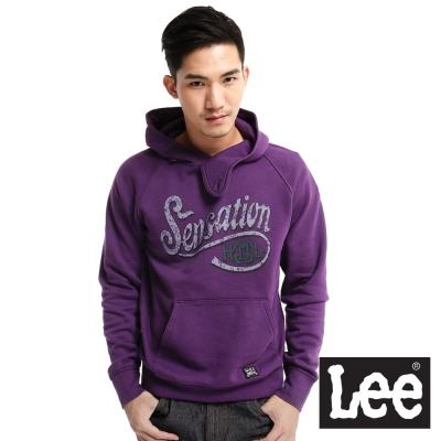 Lee-回歸起源-文字印花內刷毛附帽拉克蘭長袖厚T恤-男款-紫
