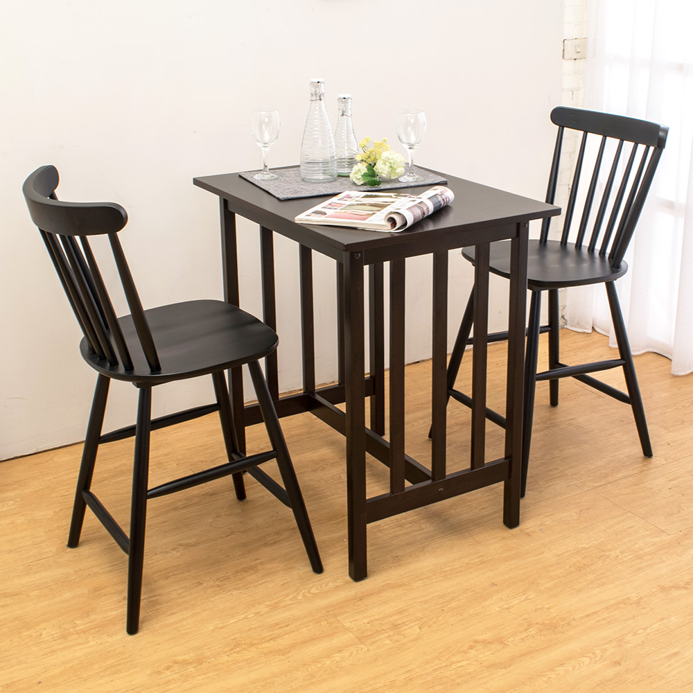 Bernice-洛爾實木吧台桌椅組合(一桌二椅)-80x60x86cm