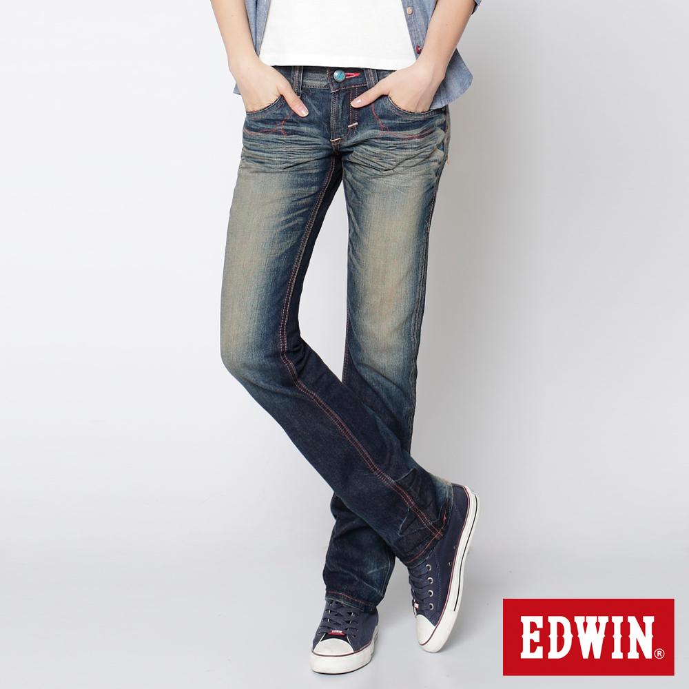 EDWIN 墨西哥風彩虹繡花拉鍊口袋直筒褲-女款(中古藍)