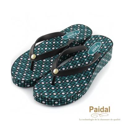 Paidal 魔力時尚幾何印花楔形鞋厚底鞋-綠