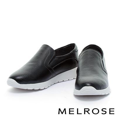 休閒鞋-MELROSE-純色牛皮厚底休閒鞋-黑