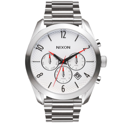 NIXON BULLET CHRONO先鋒計時網紋腕錶-白X銀/43mm