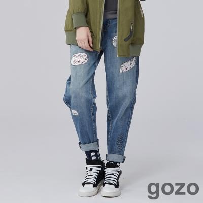 gozo-藝術家隨性創作牛仔男友褲-二色-動態sh