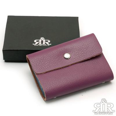 【2R】 英倫真皮萬用卡片夾( 葡漾紫)