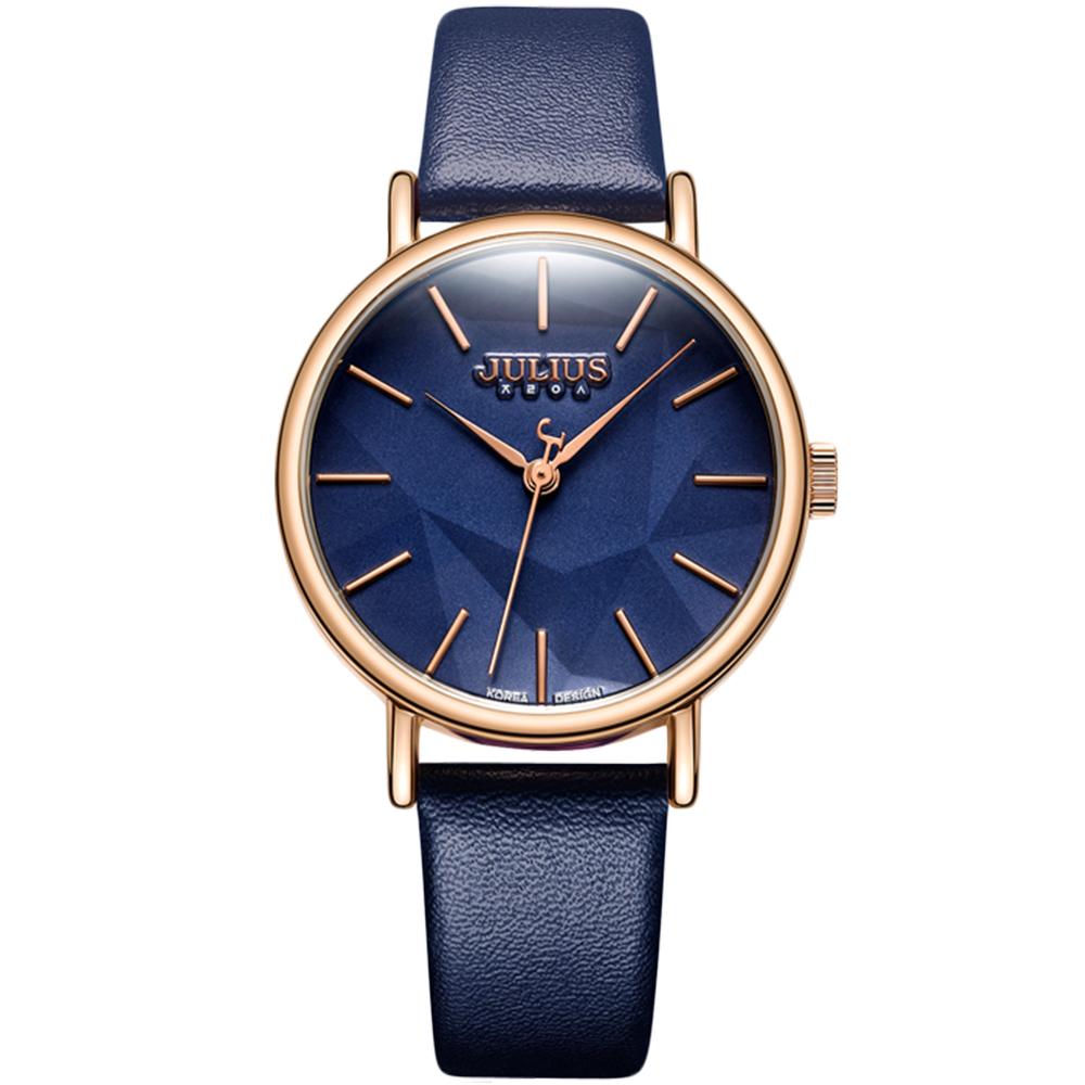 JULIUS聚利時 凝結日光層次錶盤設計皮錶帶腕錶-深海藍/34mm