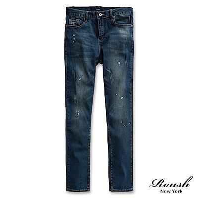ROUSH (Skinny)潑漆刷痕水洗窄管單寧褲