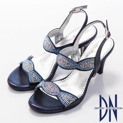 DN 璀璨亮麗 MIT金屬光感水鑽高跟涼鞋~藍