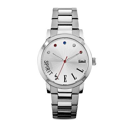 ELLE 時尚彩鑽不鏽鋼腕表-銀色/38mm