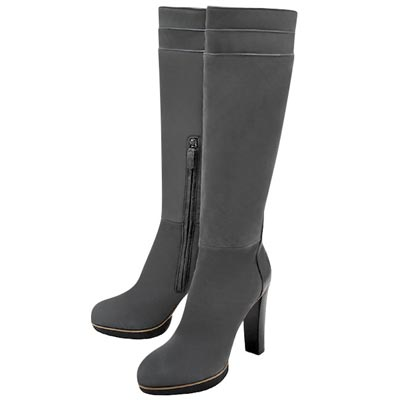 TODS 灰色麂皮厚底時尚高跟長靴-40號