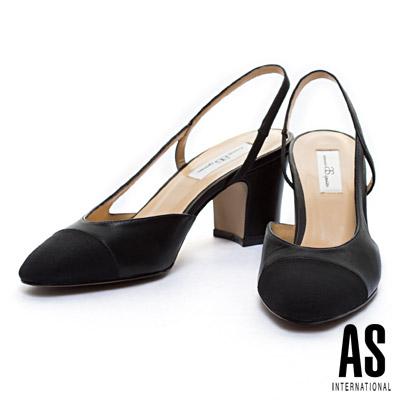 粗跟鞋-AS-異材質拼結內側鏤空造型繫帶粗跟鞋-黑