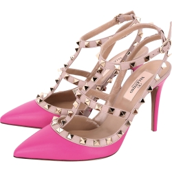 VALENTINO ROCKSTUD 鉚釘繫帶高跟鞋(桃紅色)
