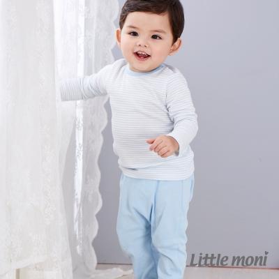 Little moni 純棉家居系列拼接反褶長褲 亮天藍