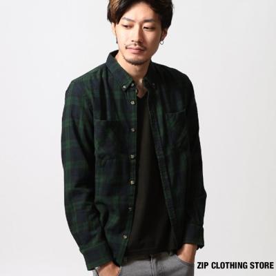 法蘭絨格紋襯衫 ZIP日本男裝