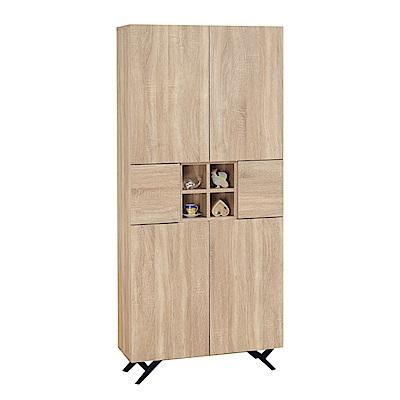 品家居 路易多2.7尺橡木紋六門書櫃-80x32x180cm免組