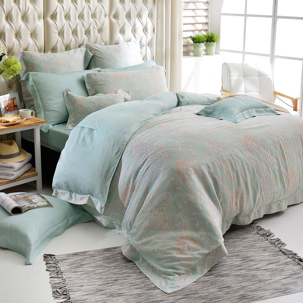 義大利La Belle 雙人天絲防蹣抗菌吸濕排汗兩用被床包組-蘿蔓微光