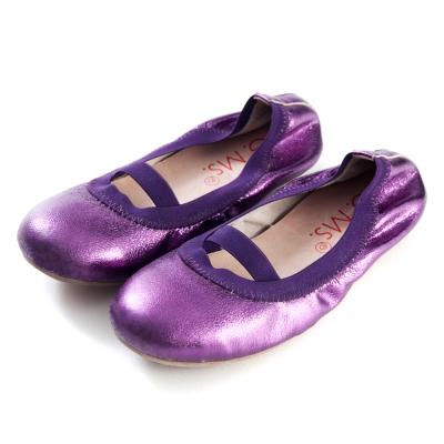 G.Ms.童鞋-金屬羊皮鬆緊口可攜式娃娃鞋(附鞋袋)-深紫