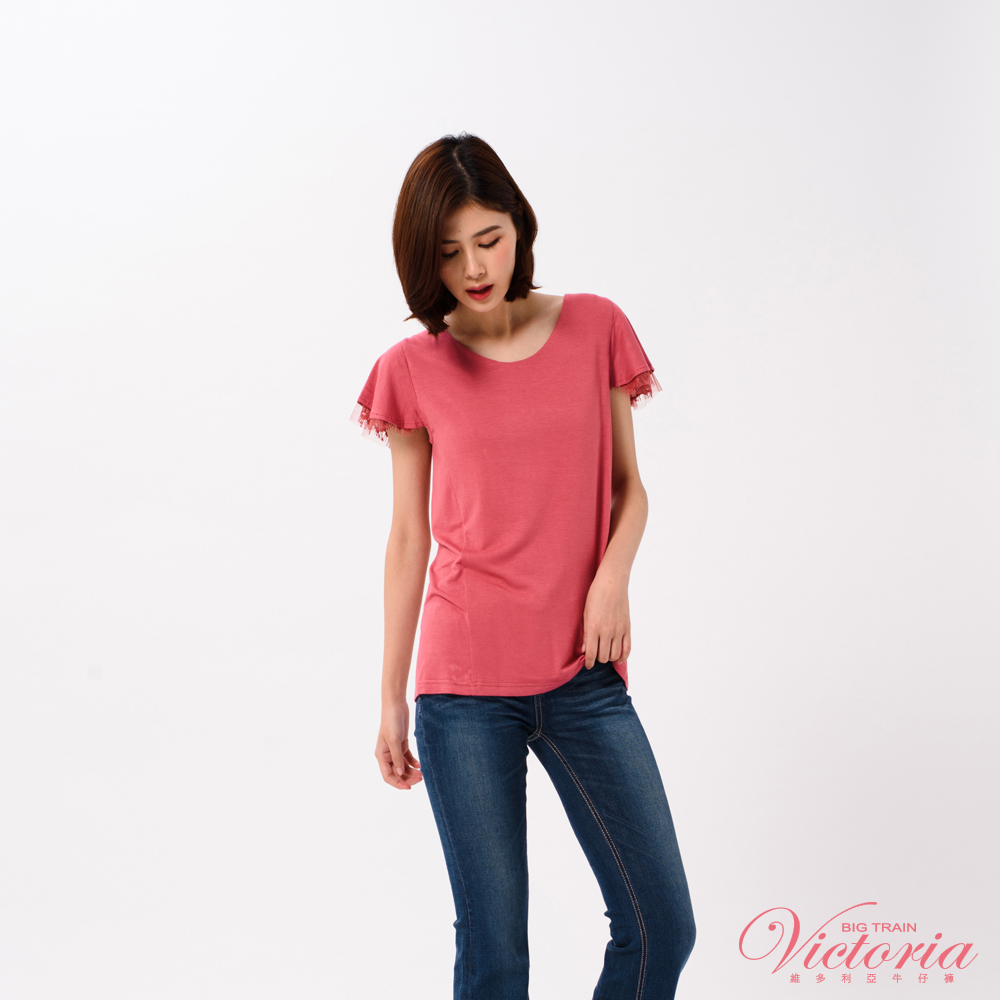 Victoria 異材質荷葉袖型短袖T-女-磚紅