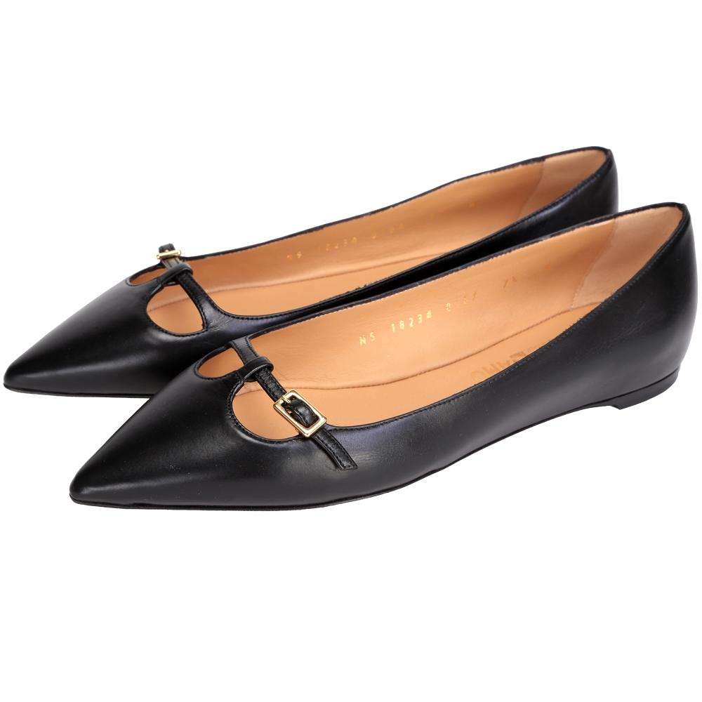Salvatore Ferragamo PATTY 皮革尖頭鞋(黑色)
