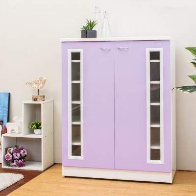 Birdie南亞塑鋼-2.7尺透視二門塑鋼鞋櫃(粉紫色)-81x37x103cm