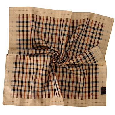 DAKS經典格紋刺繡LOGO純棉帕巾-駝色