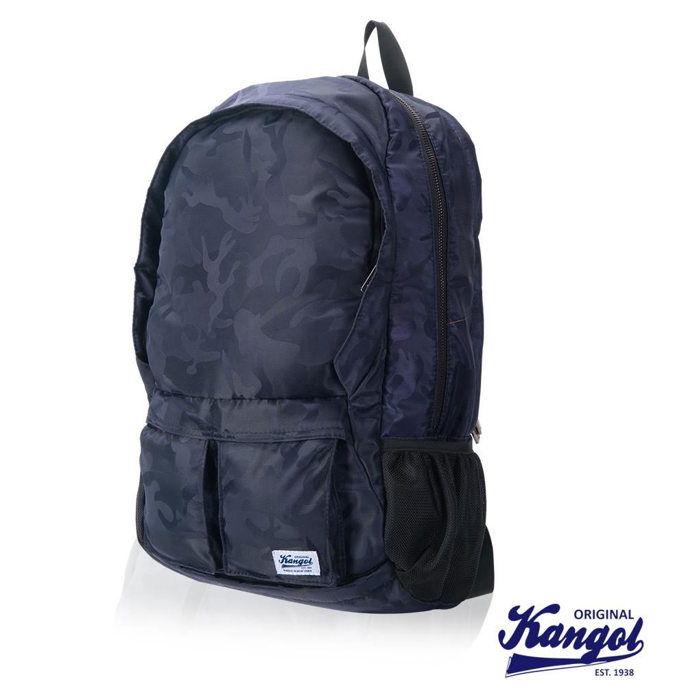 KANGOL 英式時尚輕時尚休閒13吋筆電後背包防潑水尼龍-迷彩藍