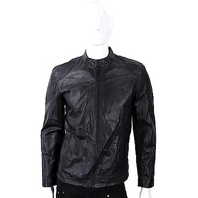 TRUSSARDI 黑色極簡小羊皮機車夾克