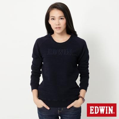 EDWIN-反面剪接拉克蘭袖厚長袖T恤-女-丈青