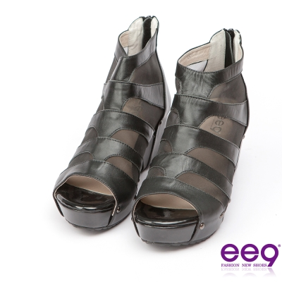 ee9璀璨迷人~金屬鉚釘透膚網紗拼接露趾楔型跟包鞋*黑色