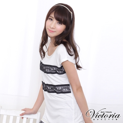 Victoria 配條蕾絲素色TEE-女-白