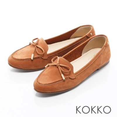KOKKO - 經典人氣麂皮蝴蝶結手工莫卡辛 - 奶油蘭姆酒棕