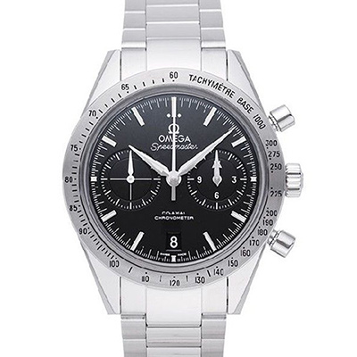 OMEGA 歐米茄 超霸系列 三眼計時精鋼黑面鍊帶腕錶-41.5mm